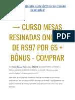 → Curso Mesas Resinadas PDF Completo | De R$97 POR 65 + 2 BÔNUS ESPECIAIS!