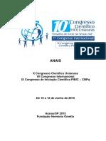 X Congresso Científico Uniararas - 2015