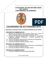 Calendar i o 2019 - para postular a la UNSAAC