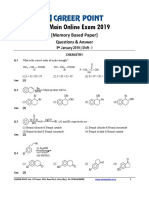 JEE Main 2019 Answer Key Chemistry Shift 1 Career Point 9th Jan