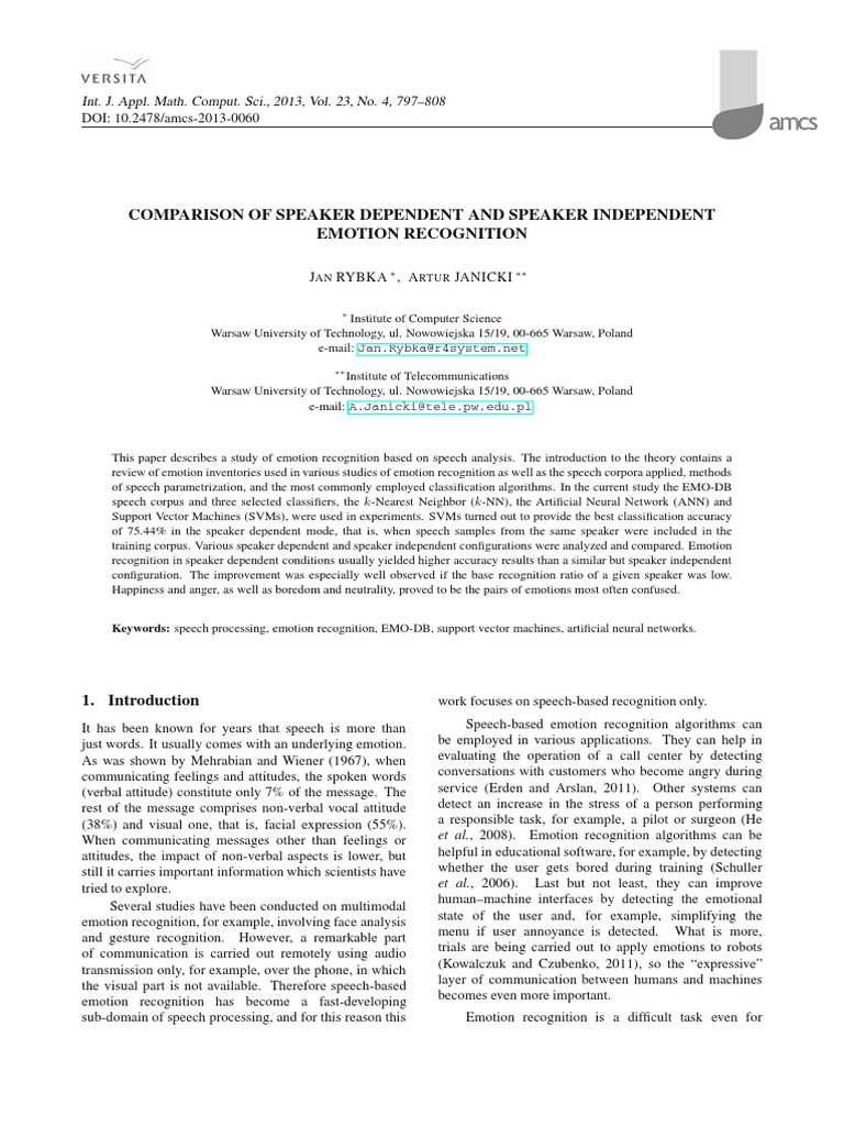 International Journal of Applied Mathematics and Computer Science