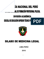 Sílabo de Medicina Legal 2019