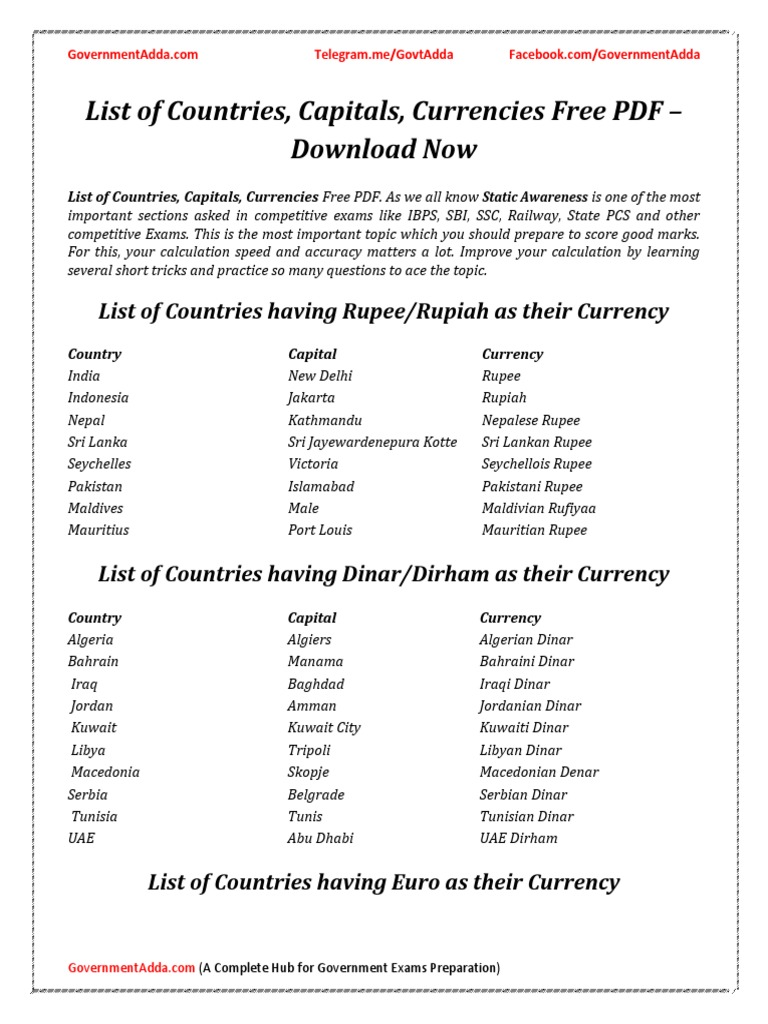 1  List of Countries Capitals Currencies by Governmentadda