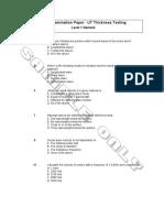 UT L1 General Thickness Testing  Examination