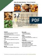 Menu de La Cuisine de Meme Moniq 19 Au 25 Janvier