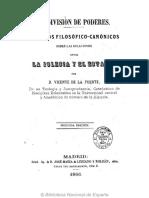 FUENTE, V. de La, La división de poderes. Estudios filosófico-canónicos sobre las relaciones entre la Iglesia y el Estado 1866 ANOTADO