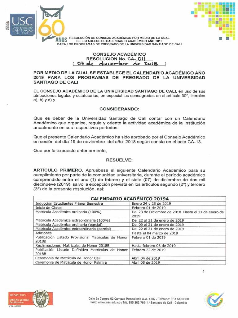 Usc Calendario.Calendario Acadmico 2019 Pregrado