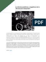 Cuáles Son Los Efectos Positivos y Negativos de La Revolución Industrial
