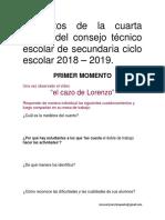 Productos de la cuarta  sesión del consejo técnico escolar de secundaria ciclo escolar 2018 2019