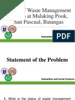 Status of Waste Management at Malaking Pook, San Pascual, Batangas