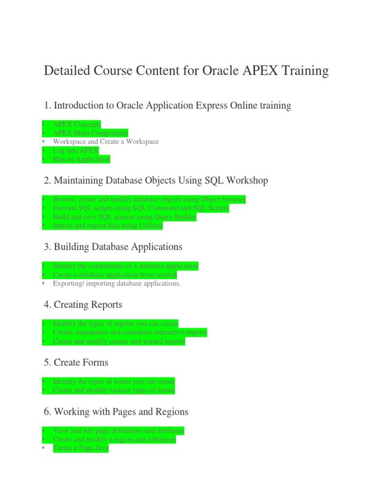 Oracle APEX Training docx | Oracle Database | Databases
