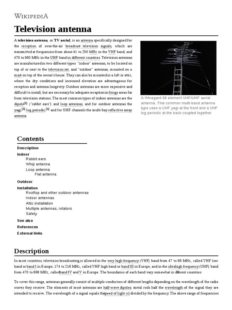 Television antenna: Description Indoor