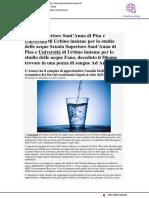 Sant'Anna di Pisa e Uniurb insieme per lo studio delle acque - Pesarourbinonotizie.it, 25 gennaio 2019