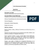 Discurso del presidente Danilo Medina en reunión del Consejo  de la Internacional Socialista