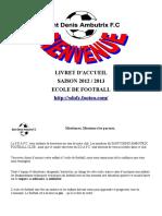 Livret d'Accueil Saison 2012 _ 2013 Ecole de Football