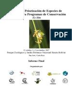 Amphibian Ex Situ Prioritzation 2007
