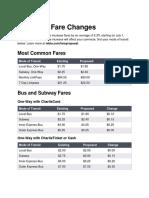 MBTA proposed fare changes