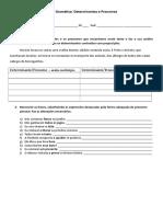 Avaliação Formativa Determinantes e Pronomes