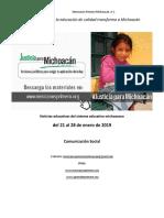 Síntesis Educativa Semanal de Michoacán al 28 de enero de 2019