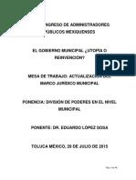 2015 08 20 Division de Poderes en El Poder Nivel Mun Eduardo Lopez