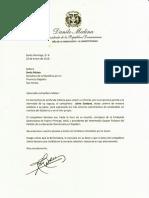 Carta de condolencias del presidente Danilo Medina a Sonia Mateo por fallecimiento de su esposo Jaime Santana