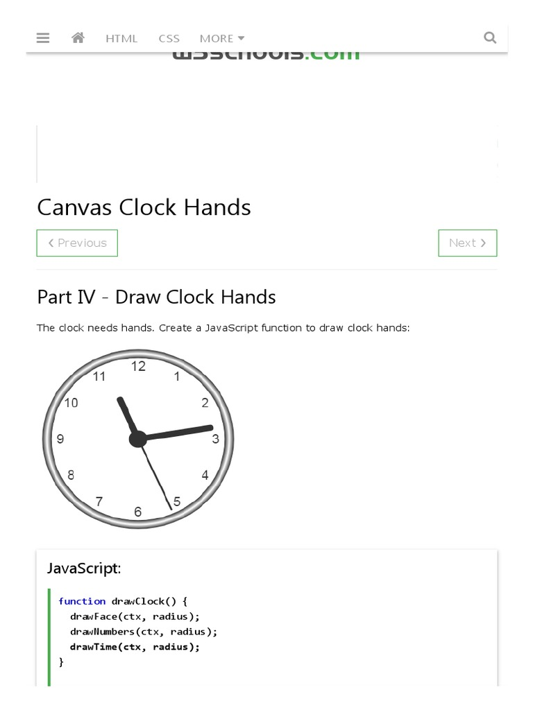 Canvas Clock Hands | J Query | Bootstrap (Front End Framework)