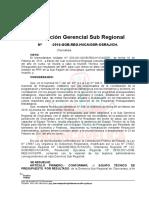 Resolución Gerencial Sub Regional