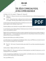 11. Accepter Jésus comme sauveur mais pas comme Seigneur (Bible-Étude biblique-Théologie) François Galarneau