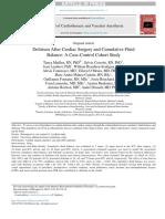 Delirium After Cardiac Surgery and Cumulative Fluid Balance a Case Control Cohort Study JourCardVascAnest 2018