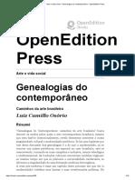 Arte e Vida Social - Genealogias Do Contemporâneo - OpenEdition Press