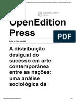 Arte e Vida Social - A Distribuição Desigual Do Sucesso Em Arte Contemporânea Entre as Nações_ Uma Análise Sociológica Da Lista Dos 'Maiores' Artistas Do Mundo - OpenEdition Press