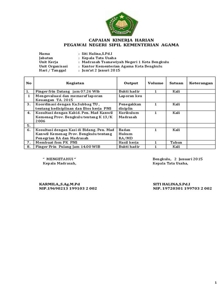 Contoh Laporan Capaian Kinerja Harian Pegawai Negeri Sipil Kementerian Agama Seputar Laporan