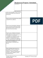 Questoes clarificadoras do projecto/actividade