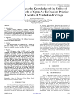 A Study to Assess the Knowledge of the Utility of Toilets and Hazards of Open Air Defecation Practice among Rural Adults of Muchakandi Village