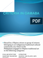 Criteria in Gamaba