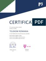 Certificat P3 Telekom România 2019