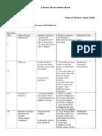 Observation Sheet VII