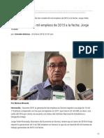 23-01-2019 - Se han creado 60 mil empleos de 2015 a la fecha