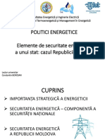 POLITICI ENERGETICE -Elemente de securitate energetice a unui stat