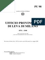 Ufficio Provinciale Di Leva Di Milano 1874-1940-PU 98