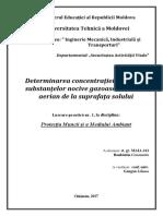 UTM - Determinarea Concentraţiei Maxime a Substanţelor Nocive Gazoase În Stratul Aerian de La Suprafaţa Solului