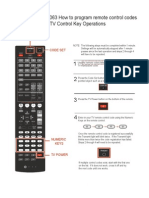 RX-V467 Programing Remote Control Codes for TV Control Key Operations