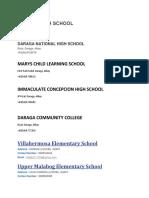 Bicol List of Schools