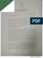 Manohar Parrikar's letter to Rahul Gandhi