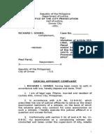 Judicial Affidavit Complaint vs Paul Farol