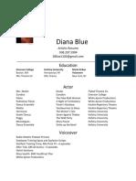 diana blue artistic resume 2019
