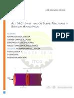 Act 04 01 Investigación Sobre Reactores y Sistemas Homogéneos