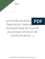 Le Monde Sousterrein Ou Description [...]Gaffarel Jacques Bpt6k75426d