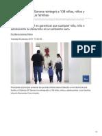 08-01-2019 - En el 2018 el DIF Sonora reintegró a 108 niñas niños y adolescentes a sus familias - Tvpacifico.mx