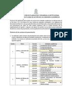 Calendario Aprobación Plan de Acción Unidades Académicas
